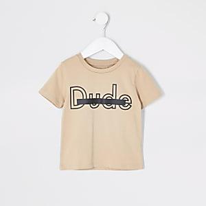 Mini - Kiezelkleurig T-shirt met 'Dude'-print voor jongens