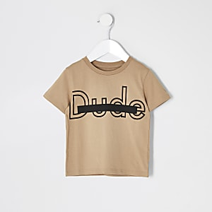 "Mini – Steingraues T-Shirt ""Dude"""
