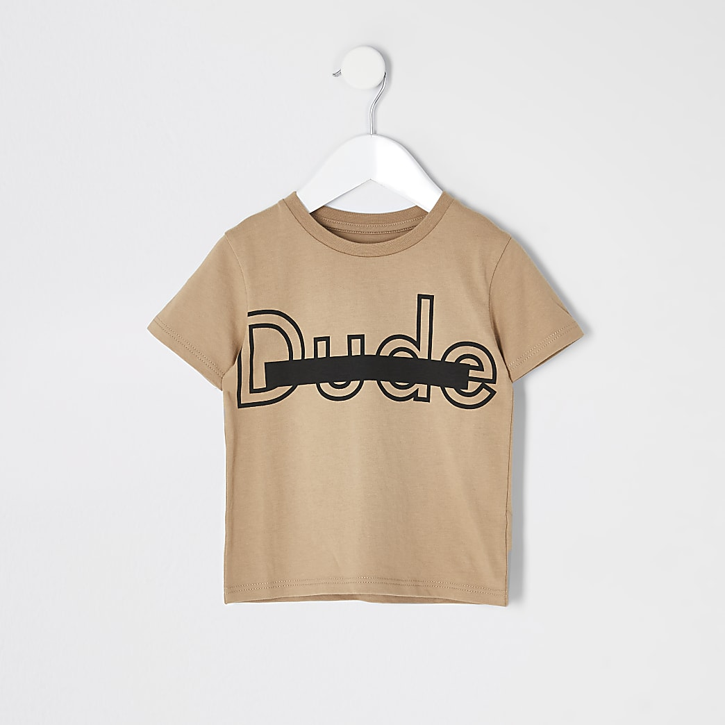 Mini boys stone 'Dude' T-shirt