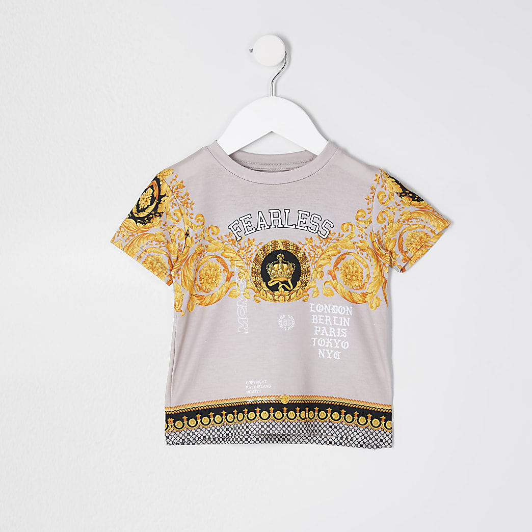 Mini boys stone 'Fearless' print t-shirt