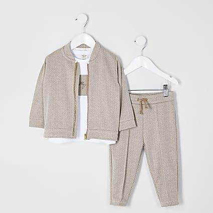 Mini boys stone herringbone 3 piece outfit