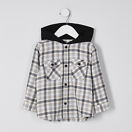 Mini boys stone hooded overshirt
