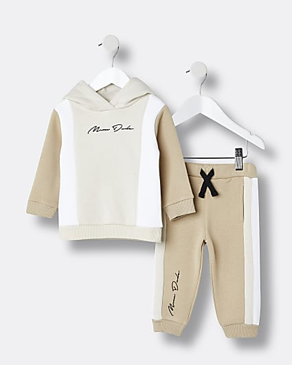 Mini boys stone hoodie and joggers set