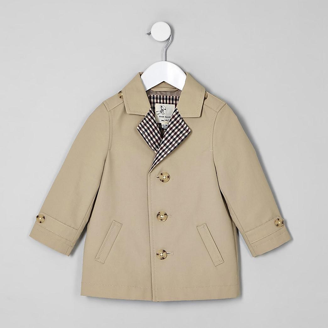 Mini boys stone lined lightweight mac coat