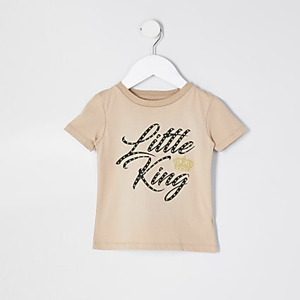 Mini boys stone 'Little King' crown t-shirt