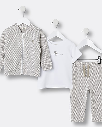 Mini boys stone Maison Riviera 3 piece outfit
