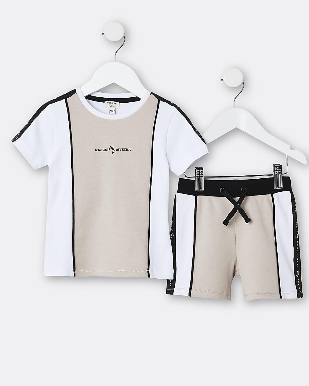 Mini boys stone Maison Riviera t-shirt outfit