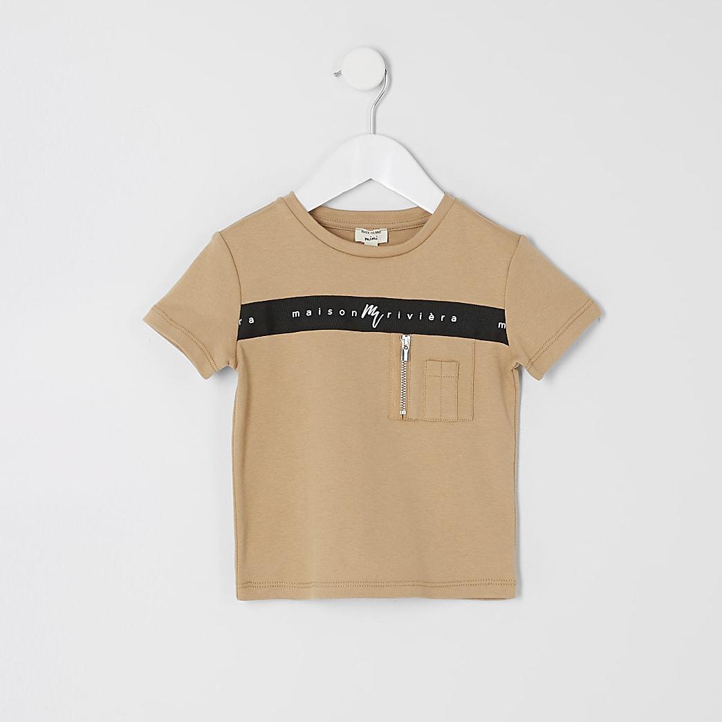 Mini - Kiezelkleur T-shirt met Maison Riviera print voor jongens