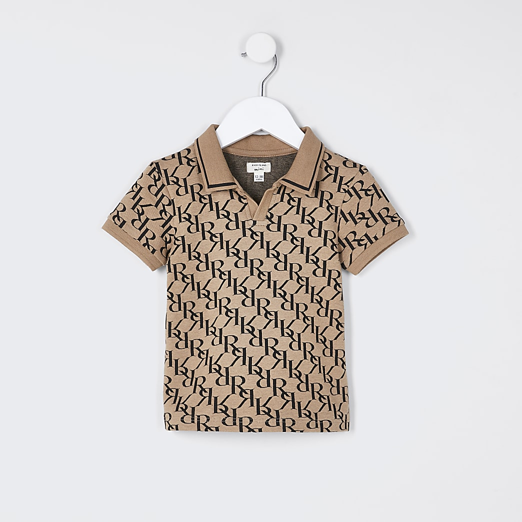 Mini boys stone monogram polo shirt