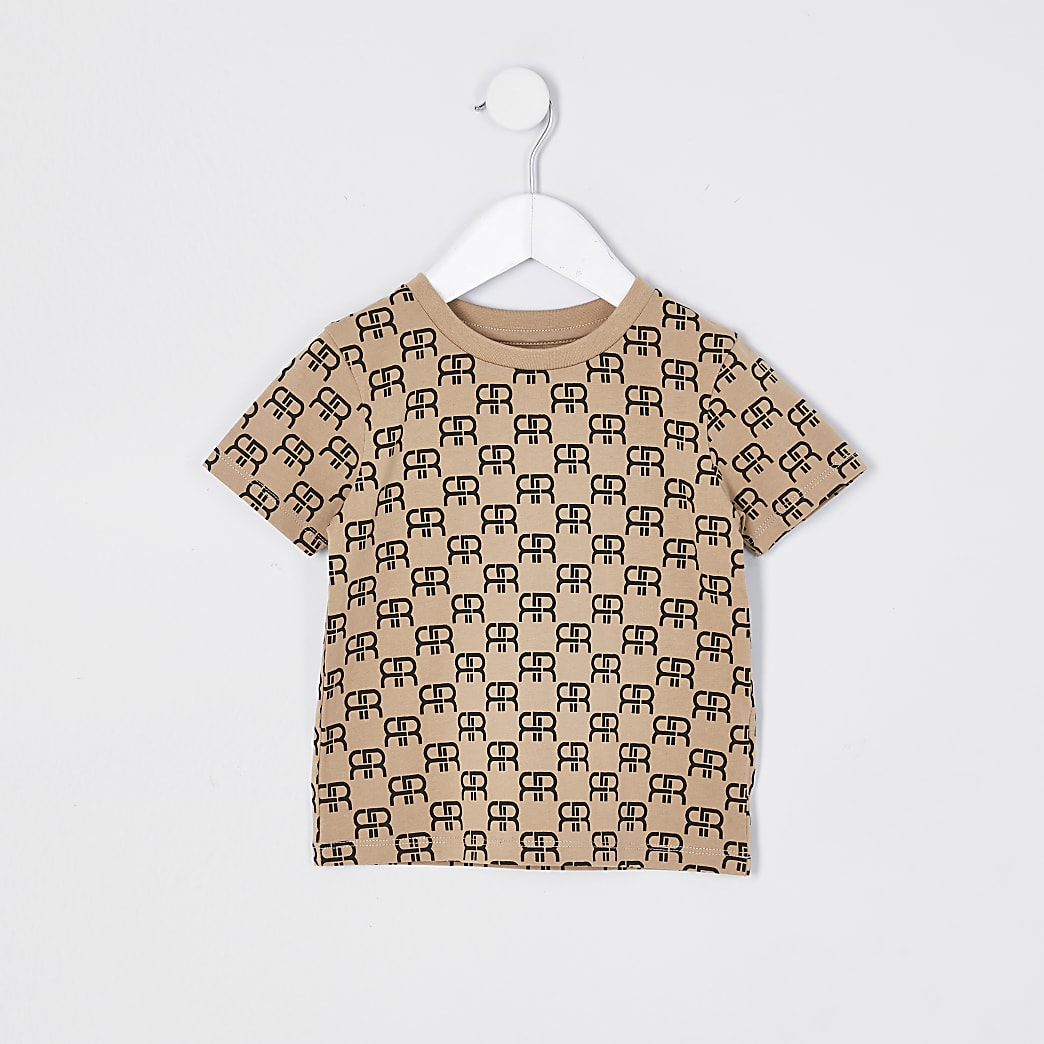 Mini boys stone monogram t-shirt