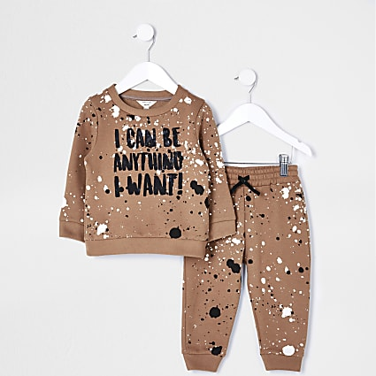 Mini boys stone paint splatter print outfit