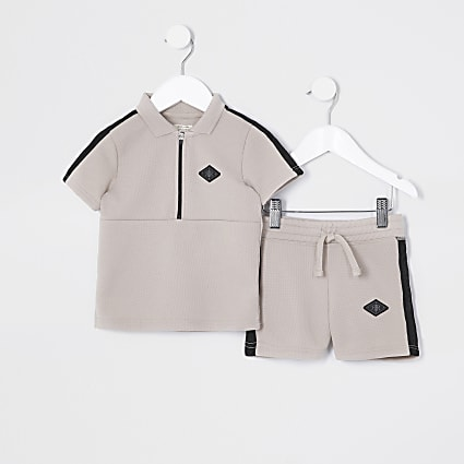 Mini boys stone pique polo short set