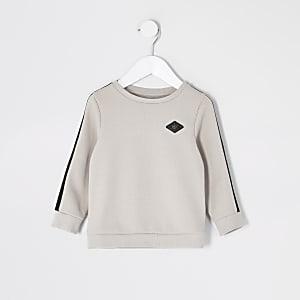 """Mini– Steingraues Pikee-Sweatshirt mit""""Maison""""-Zierstreifen für Jungen"""