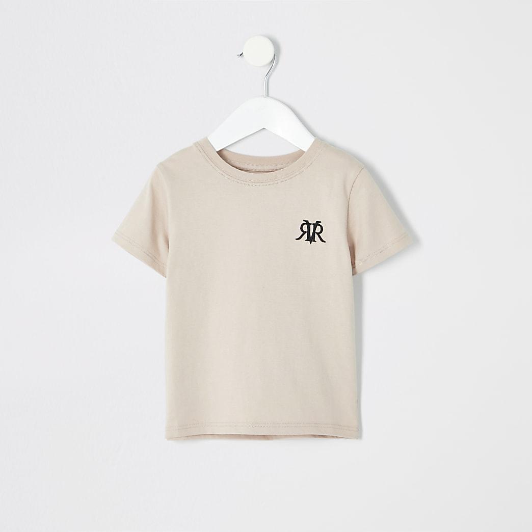 T-shirt grège à logo RI mini garçon