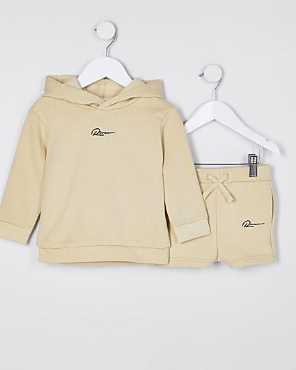 Mini boys stone River hoodie and short set