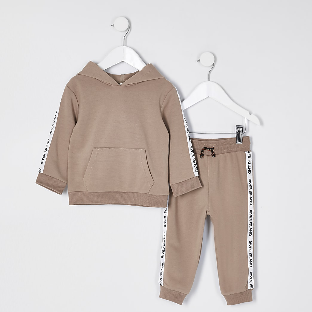 Mini boys stone 'River island' taped outfit