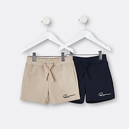 Mini boys stone 'River' shorts 2 pack