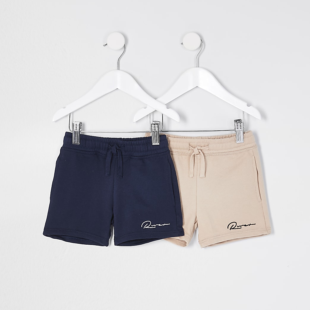 Mini boys stone 'River' shorts 2 pack