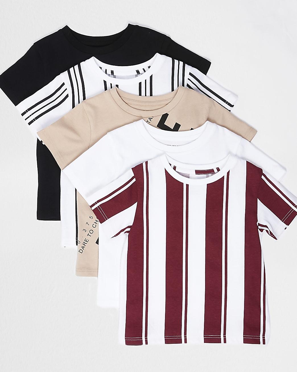 Mini boys stone stripe printed t-shirt 5 pack