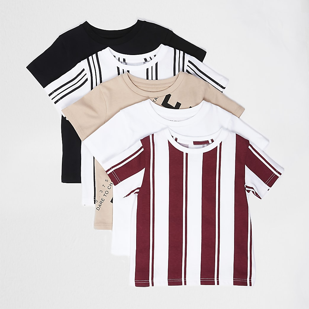Mini boys stone stripe printed t-shirt 5 pack