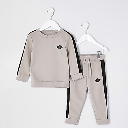 Mini boys stone sweat and jogger outfit