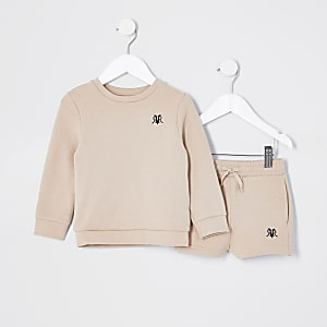 Mini boys stone sweat and short set