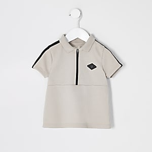 Mini boys stone tape half zip polo shirt