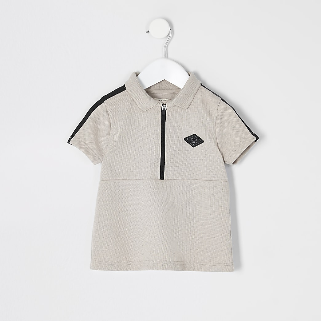 Mini boys stone tape half zip polo shirt