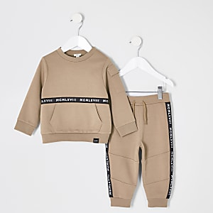 Mini - Kiezelkleurige outfit met sweatshirt voor jongens