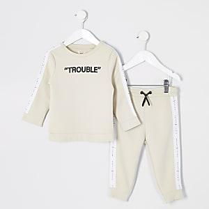 Tenue avec sweat« Trouble » grège Mini garçon