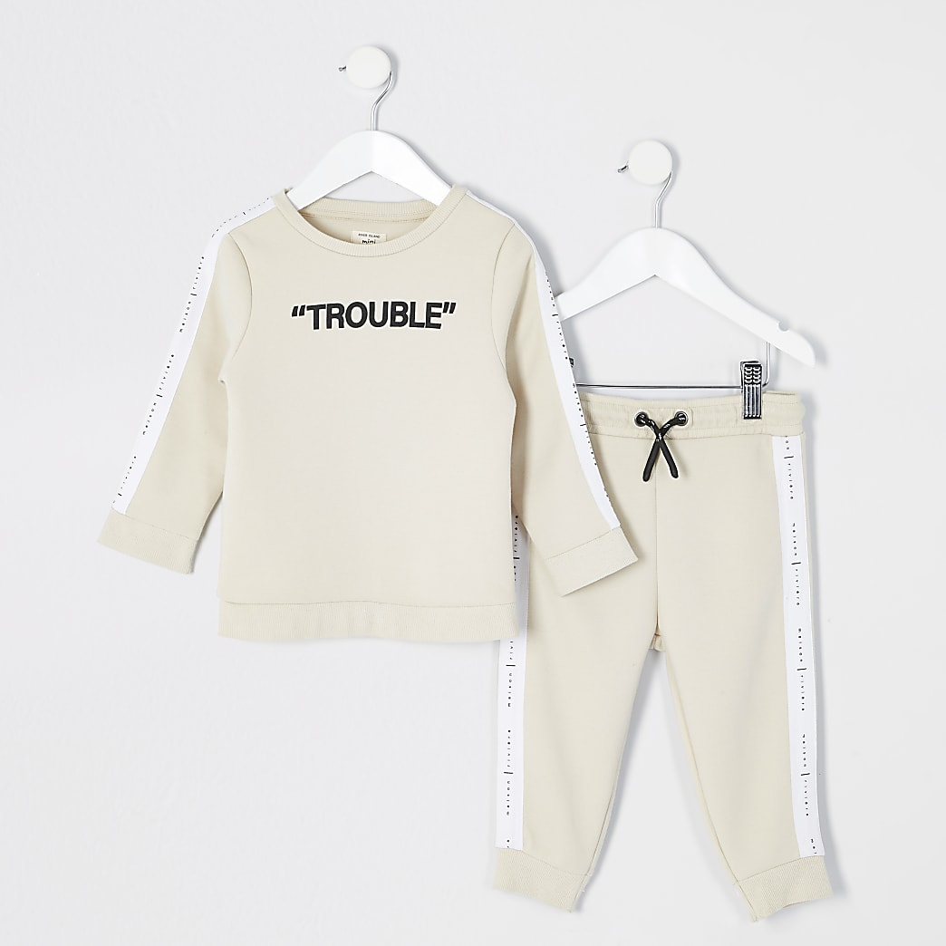 Mini boys stone 'Trouble' sweatshirt outfit