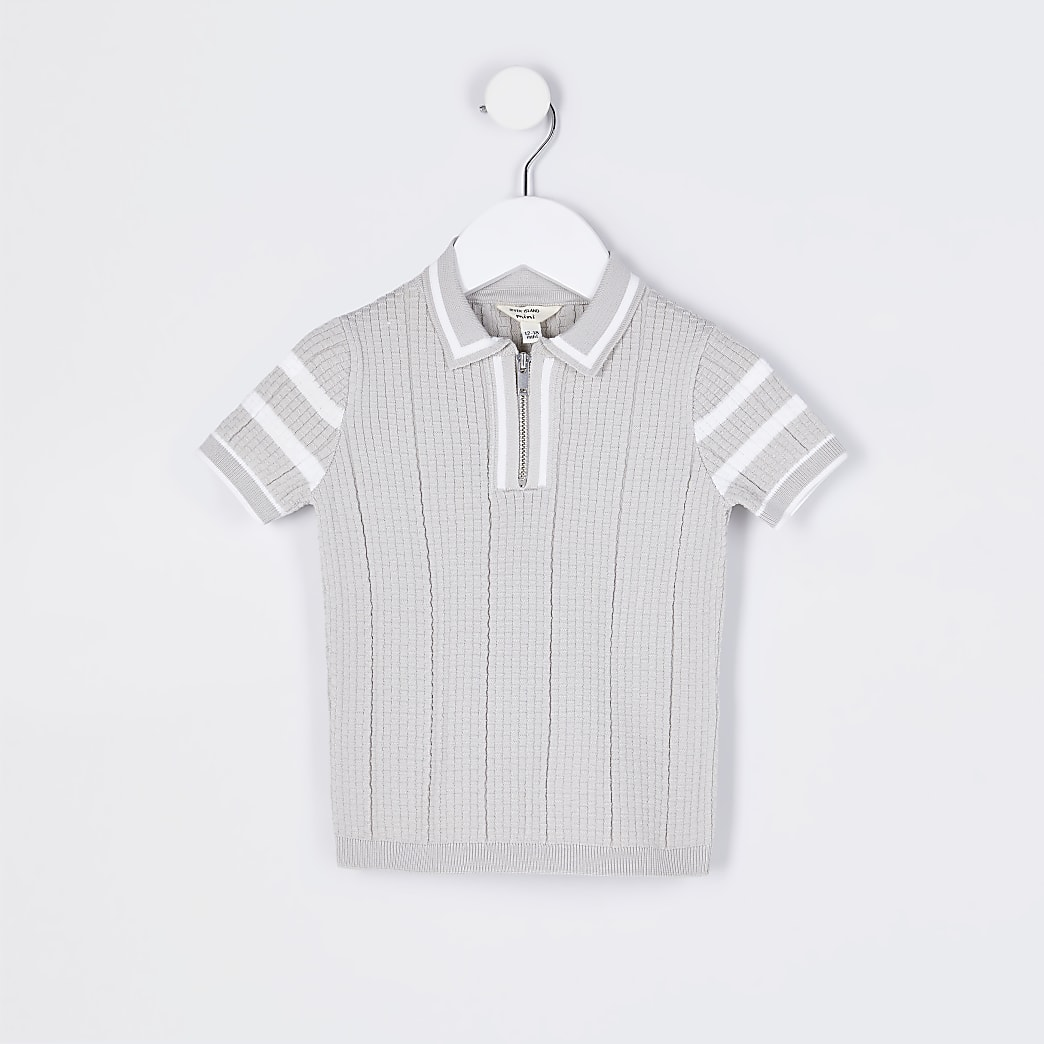 Mini boys stone waffle stitch polo shirt