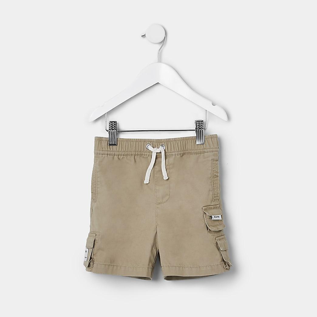 Mini boys stone washed cargo shorts