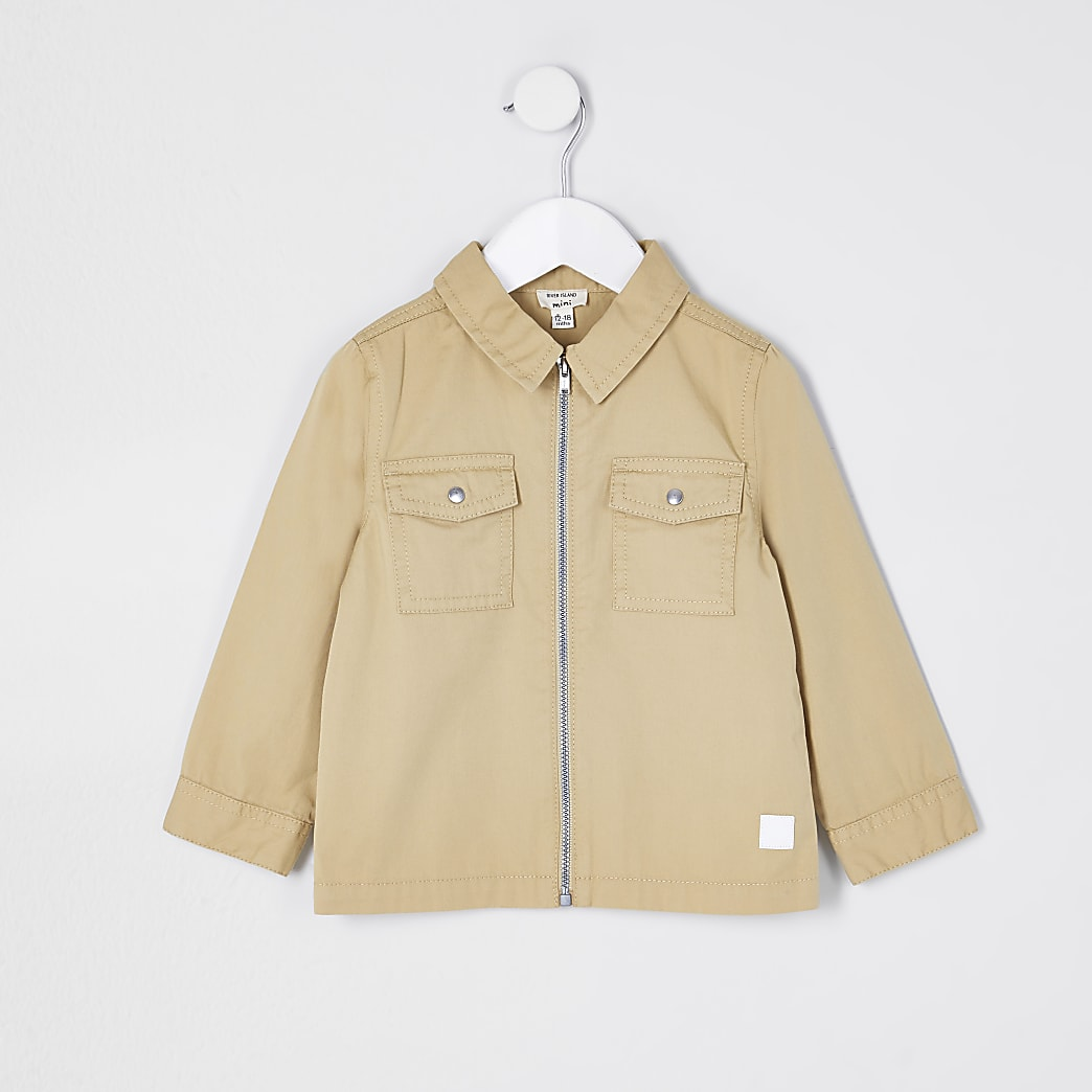Mini boys stone zip through overshirt