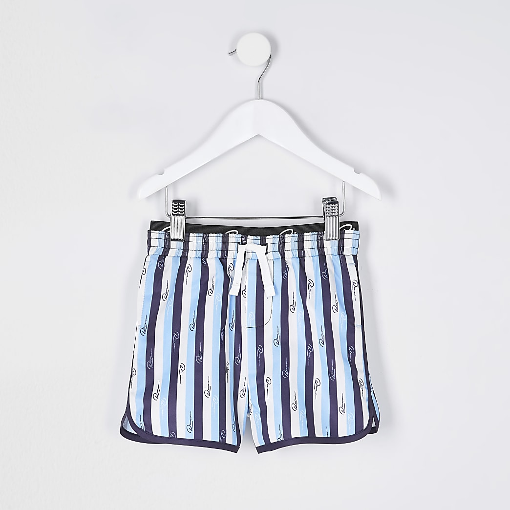 Mini boys stripe volume swim shorts