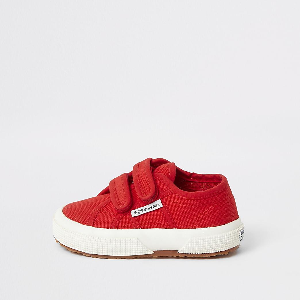 Superga - Rode sneakers met klitteband voor mini-jongens