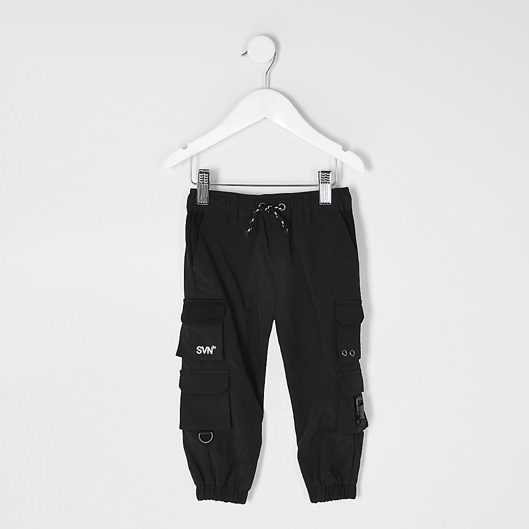 Mini boys SVNTH black nylon joggers