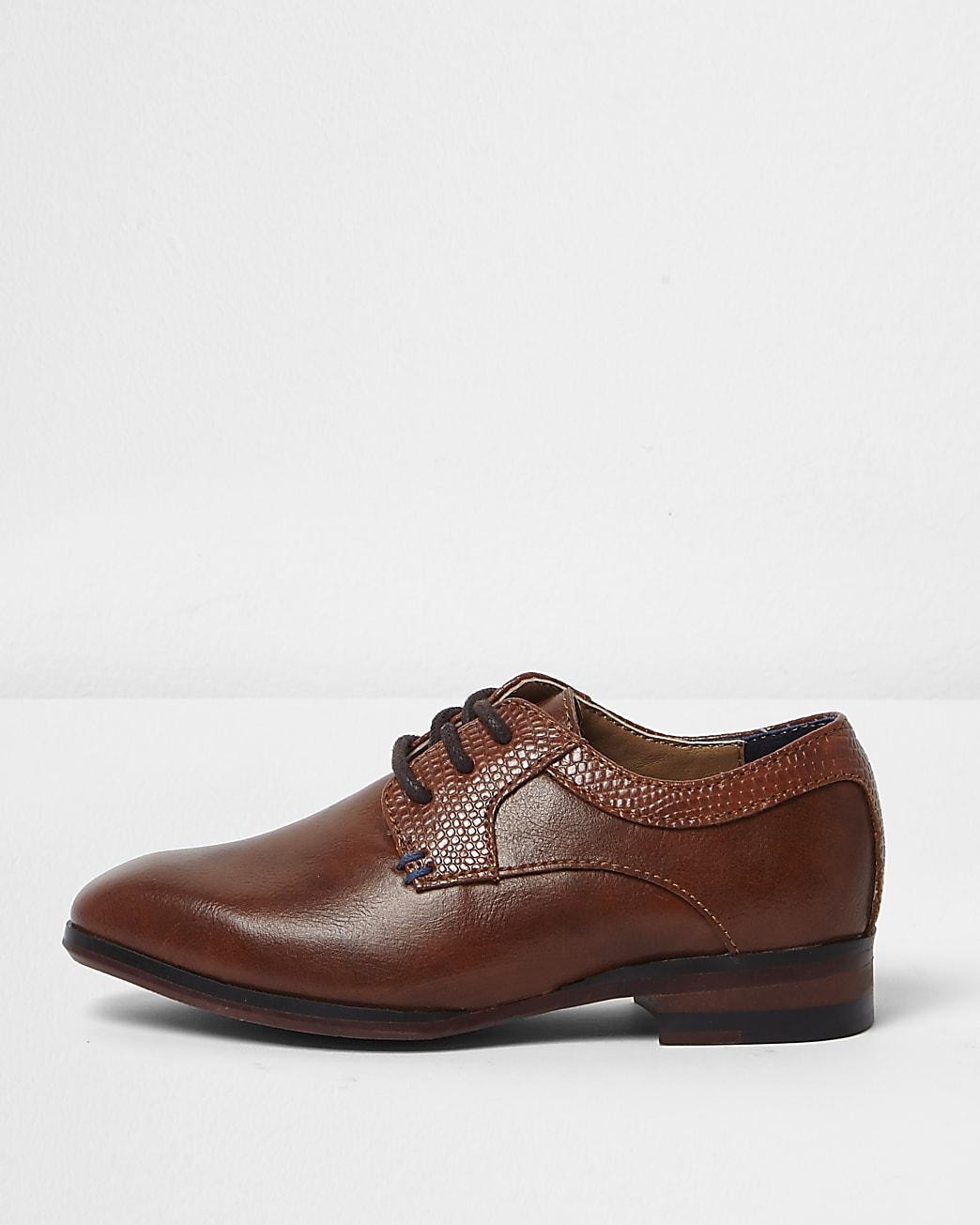 Mini boys tan brown pointed brogue shoes