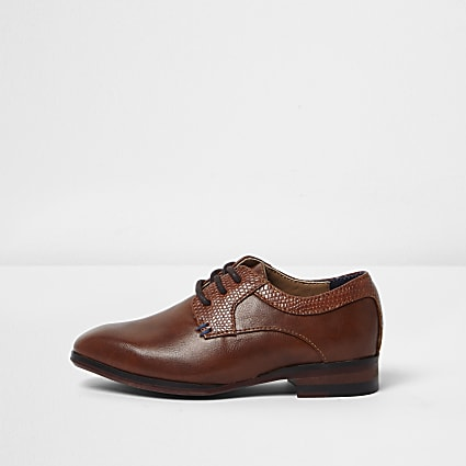 Mini boys tan brown pointed brogue shoes