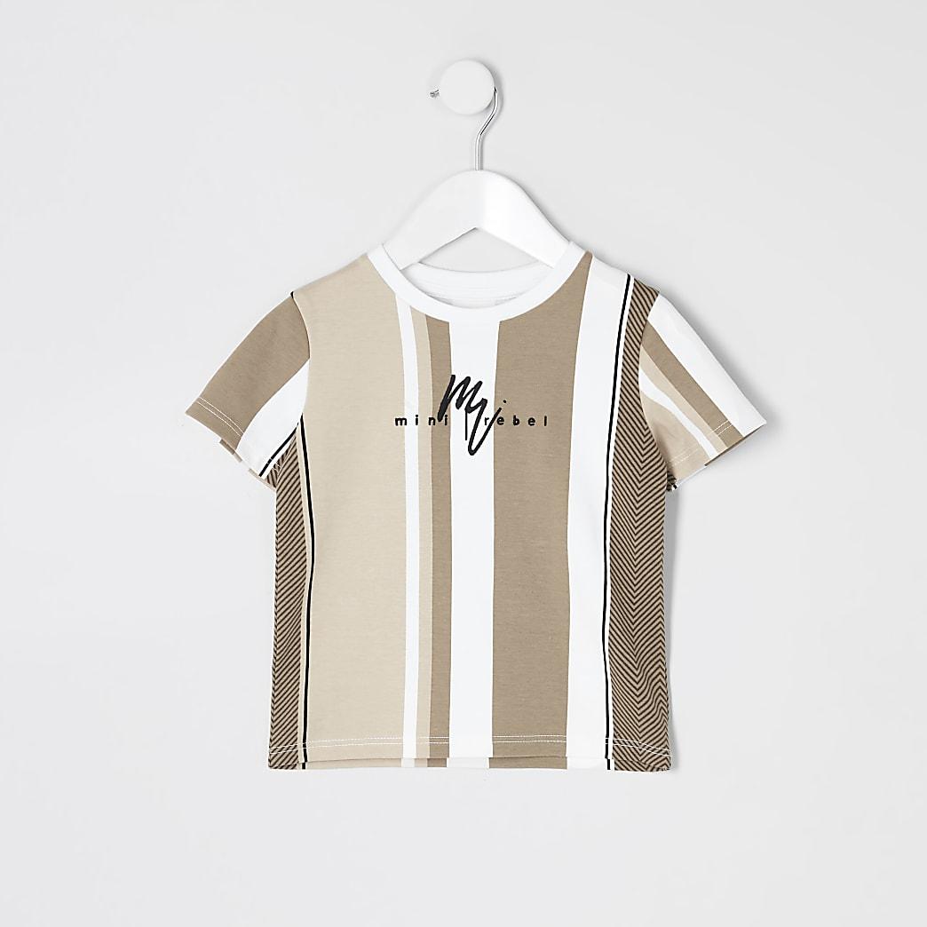Mini - Bruin T-shirt met visgraat strepen voor jongens