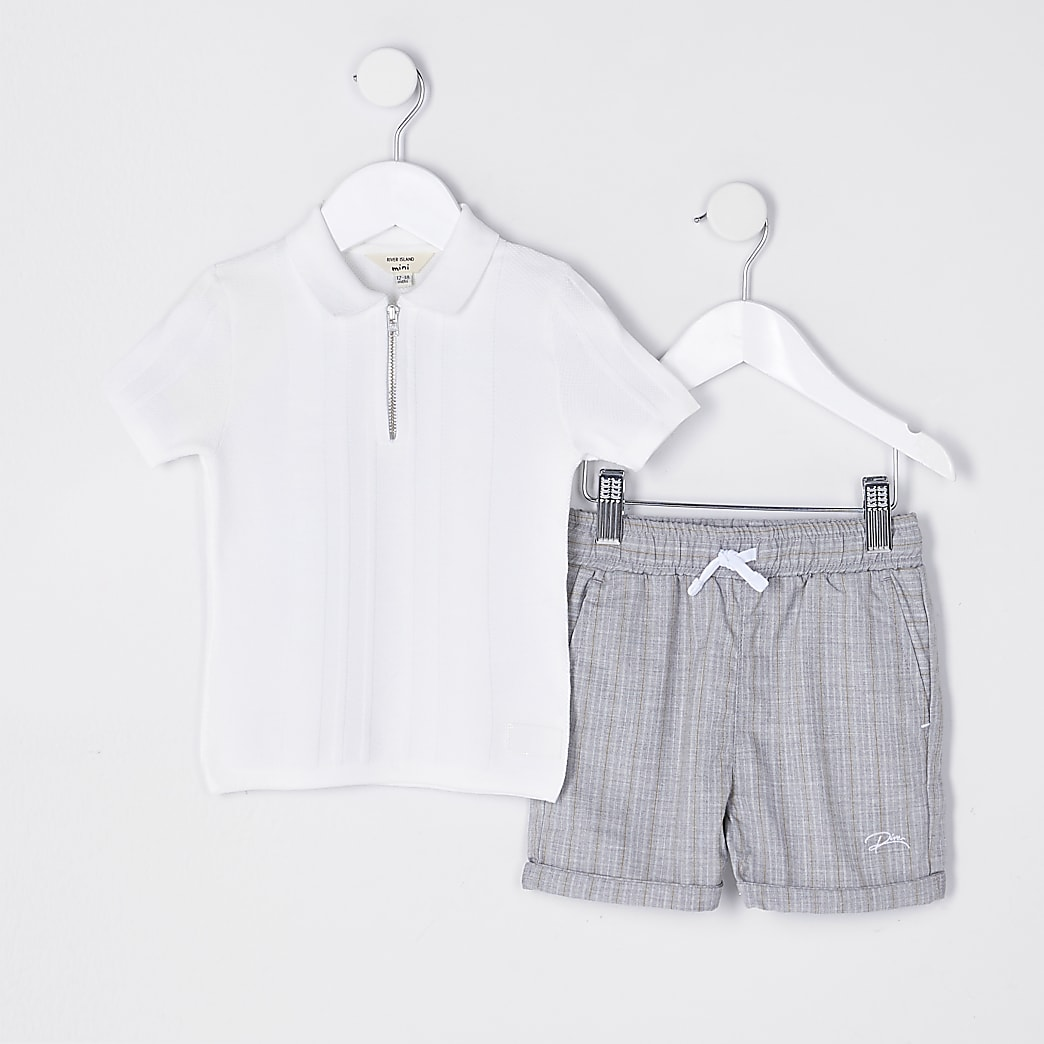 Mini boys textured polo and shorts outfit