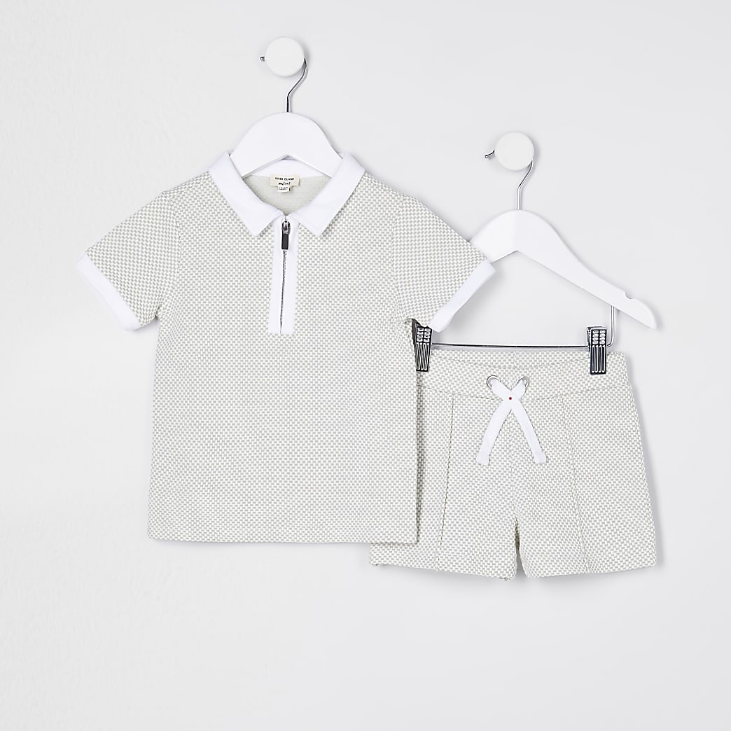 Mini boys textured polo shirt and short set