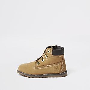 Mini - Timberland - Bruine laarzen met vetersluiting voor jongens