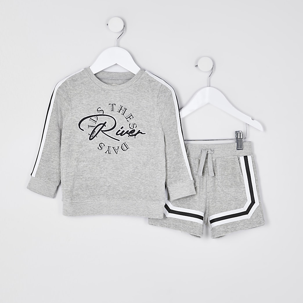 Mini boys towelling sweatshirt outfit