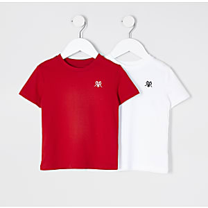 Mini boys white 2 pack t-shirts