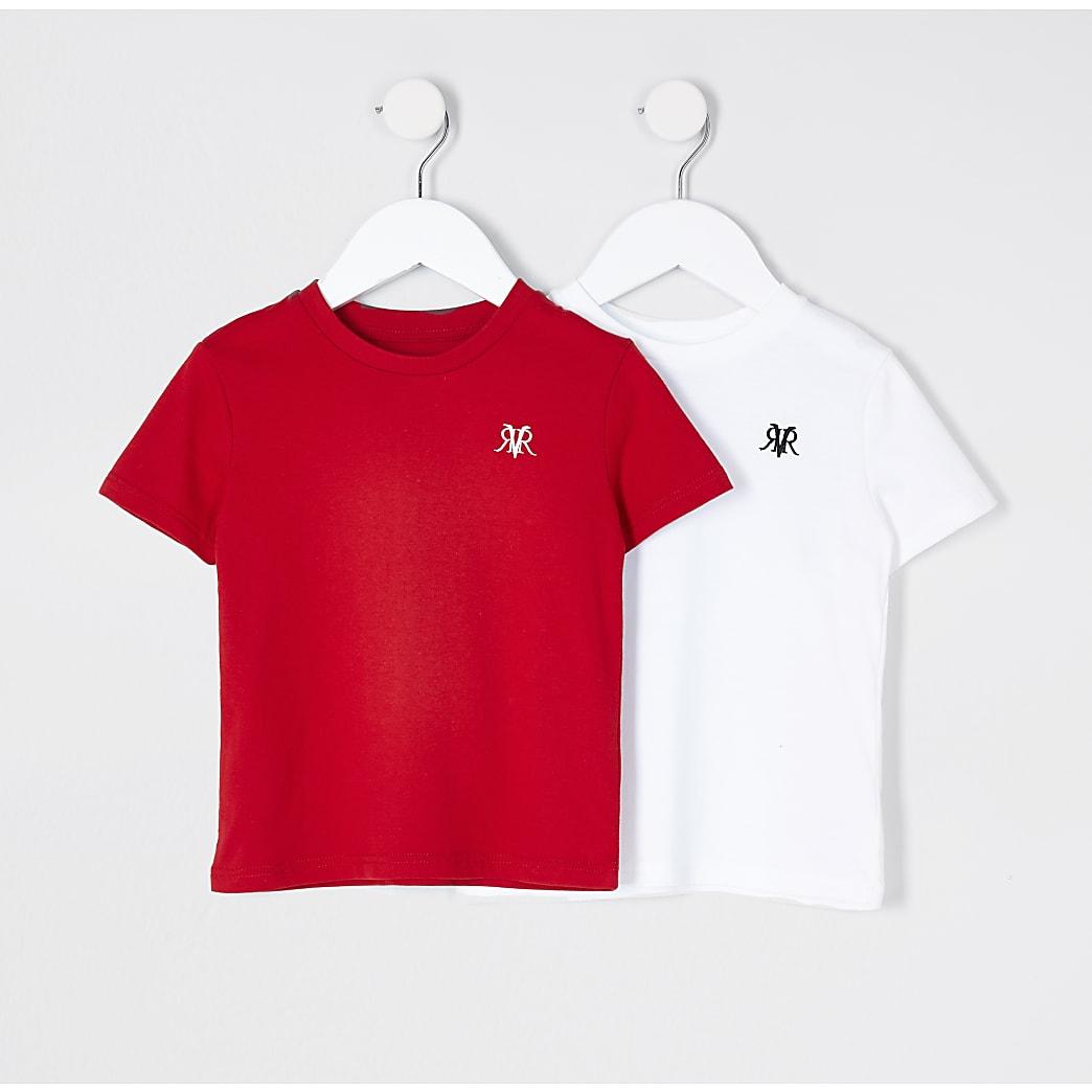 Mini boys white 2 pack t-shirts
