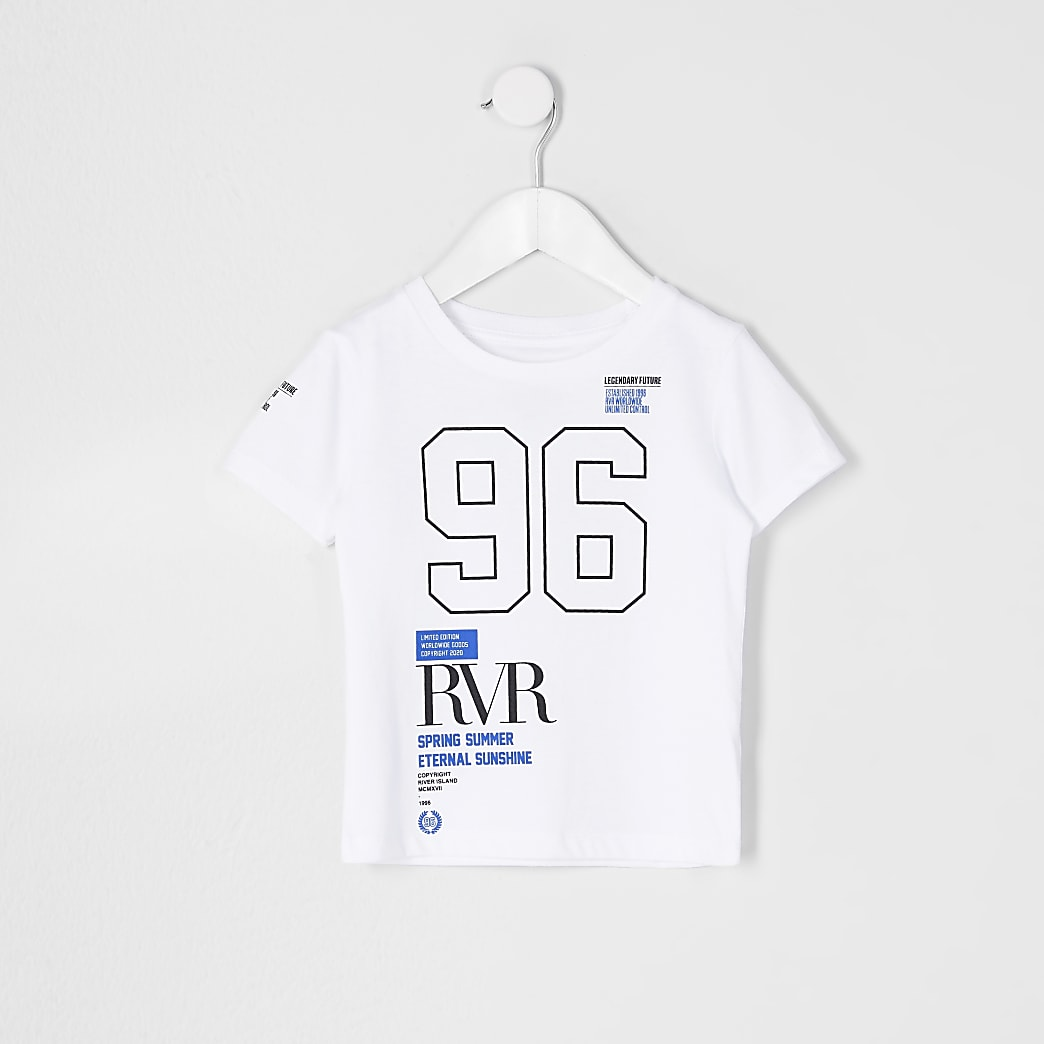 Mini boys white 96 RVR print t-shirt