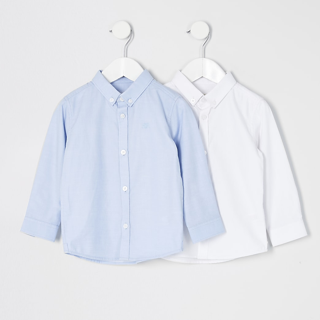 Mini boys white and blue twill shirt 2 pack