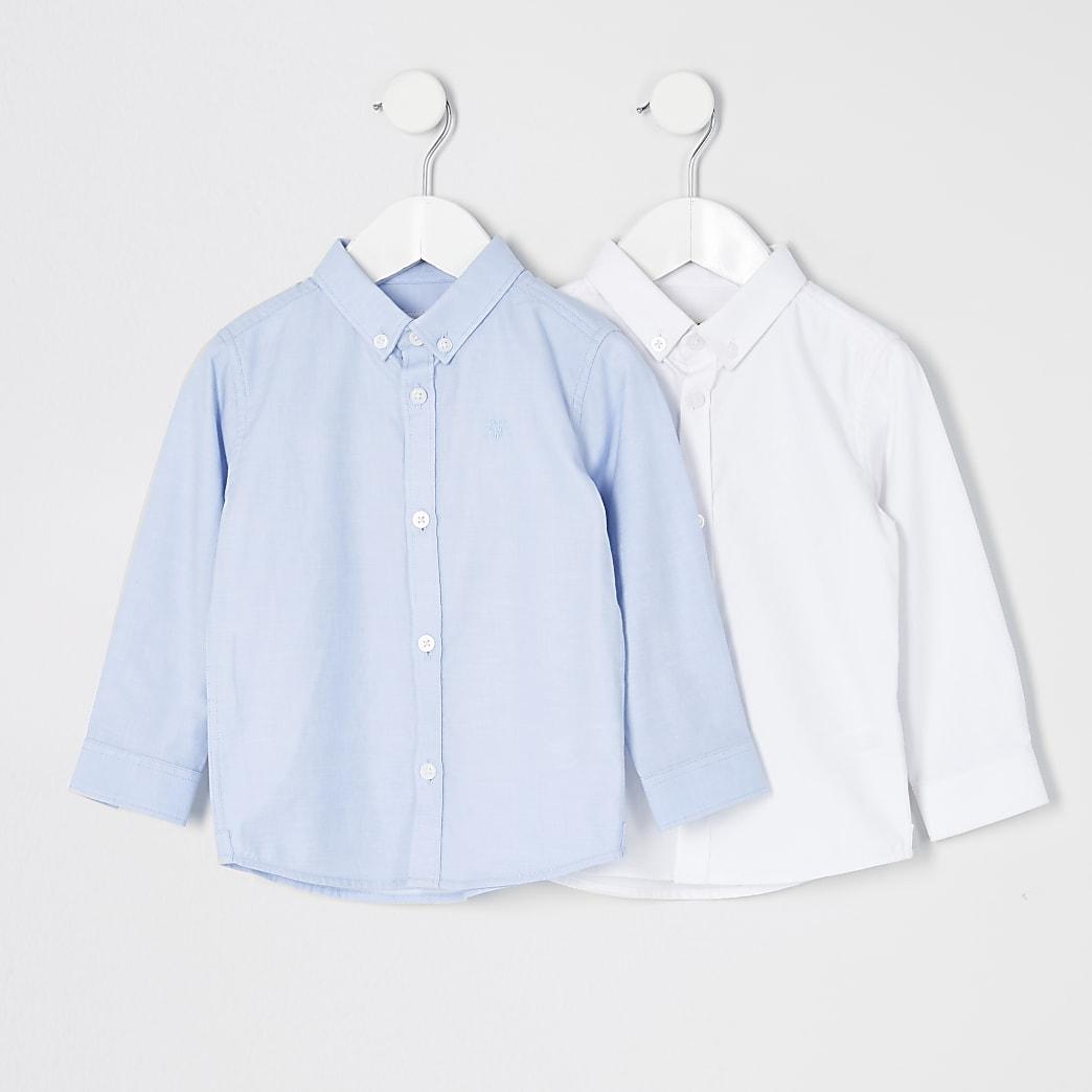 Mini - Set van 2 witte en blauwe overhemden van keperstof voor jongens