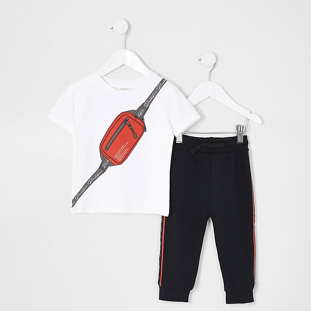 Mini boys white bag print T-shirt outfit
